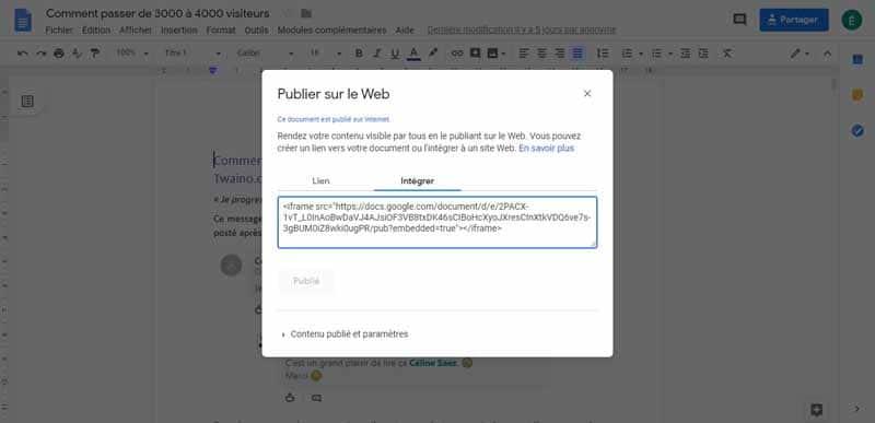 Integrer un Google Doc dans votre article 3