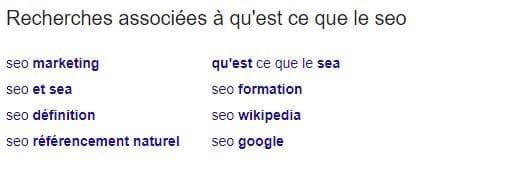 Les recherches associees a la requete proposees par Google