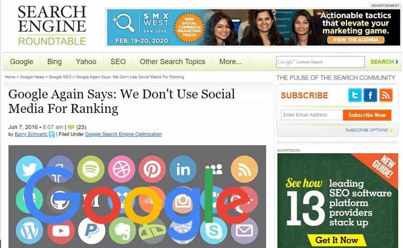 Google n utilise pas les signaux des reseaux sociaux pour classer les resusltats