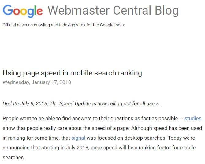 La vitesse de chargement des sites web est un facteur de classement tres important
