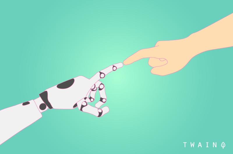 Homme intelligence artificielle et machine SEO