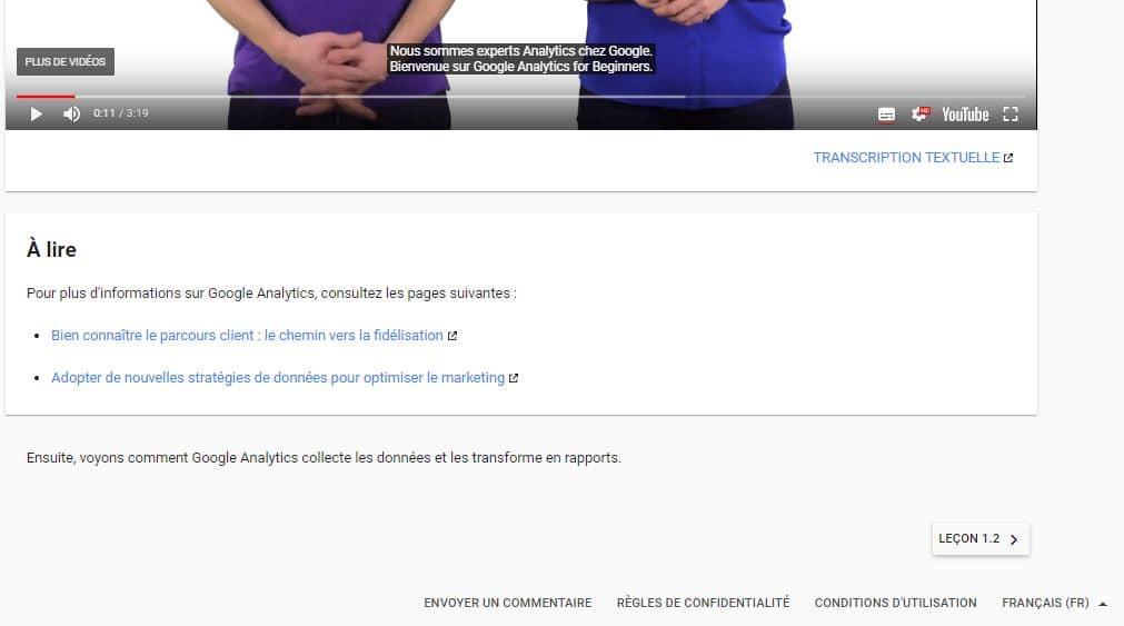 Autres ressources proposees par Google en complement du cours