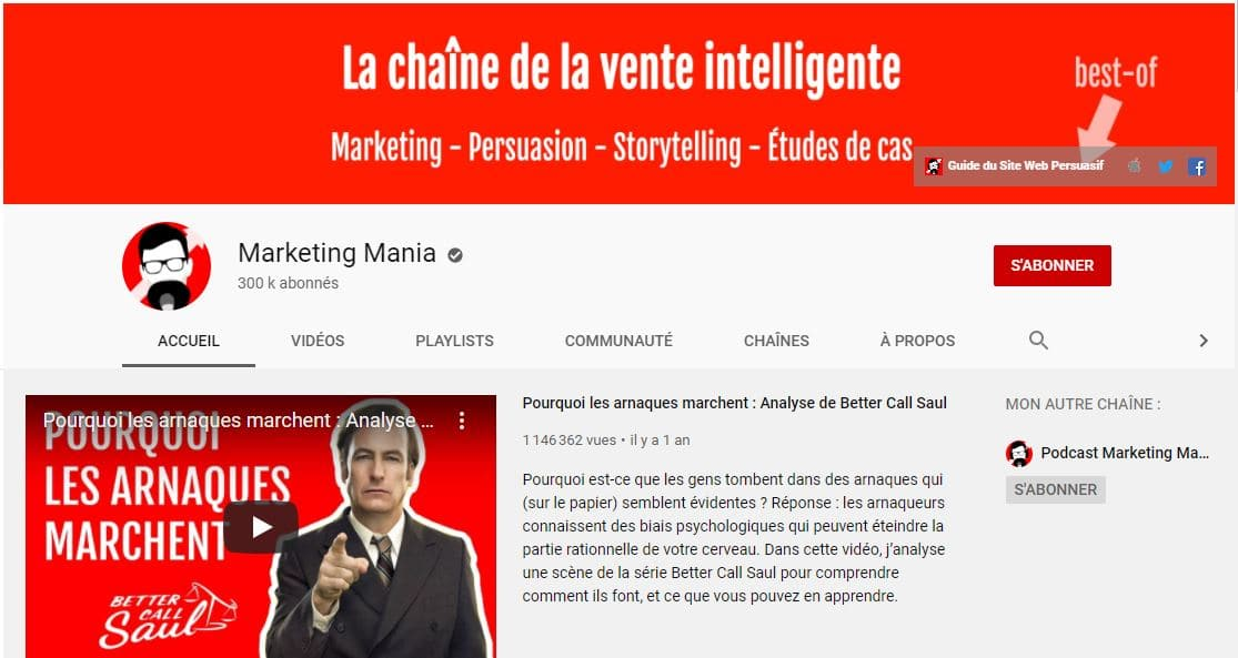 Chaine YouTube de Marketing Mania