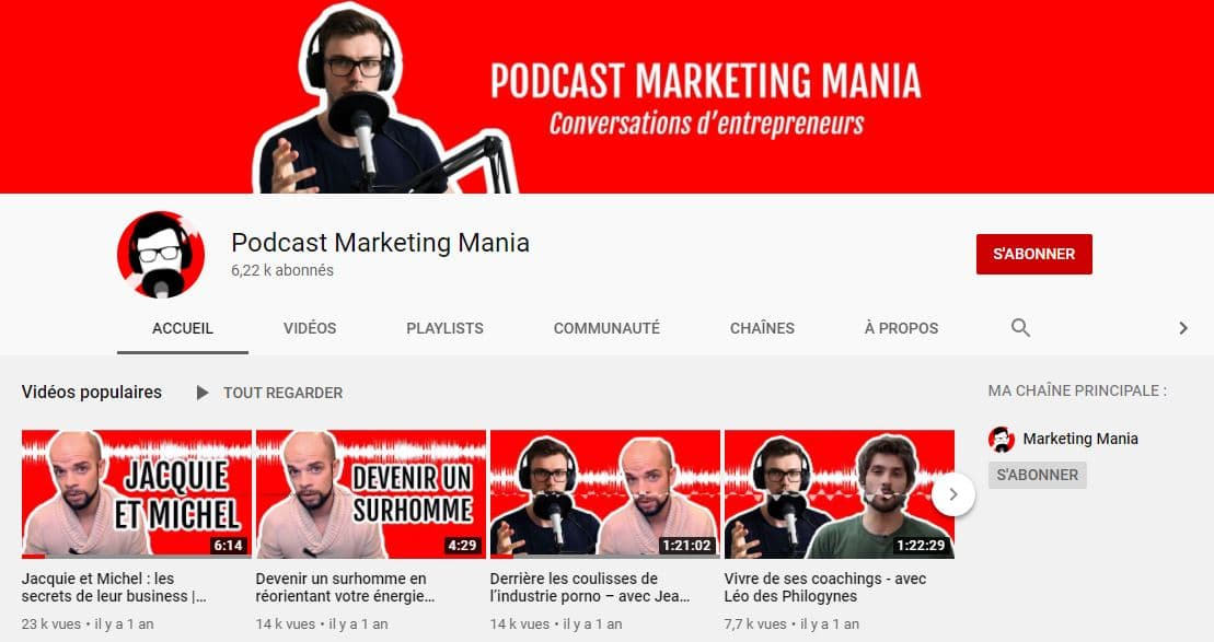 Chaine YouTube dediee au podcast de marketing mania