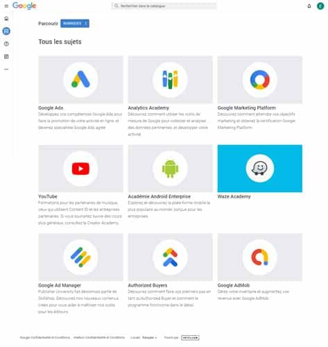 Différents cours de Google sur ses produits