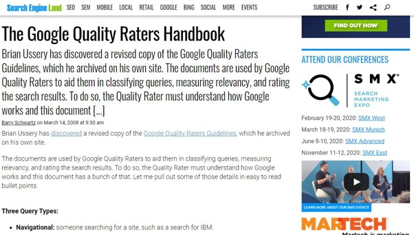 Fuite du Search Quality Raters Guidelines