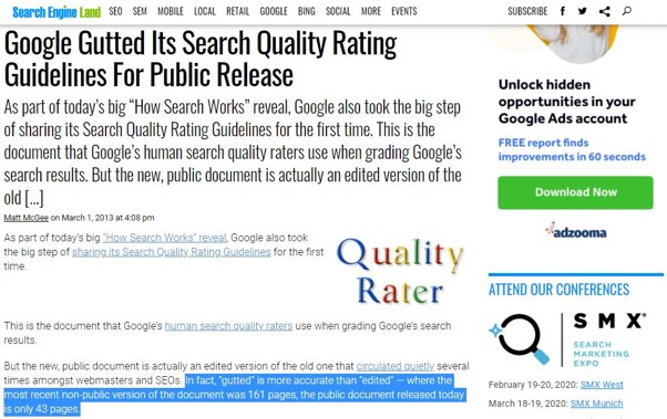 Google publie une version moins elaboree du Search Quality Raters Guidelines