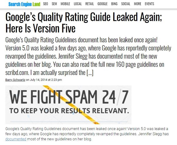 Fuite du Search Quality Raters Guidelines de Google