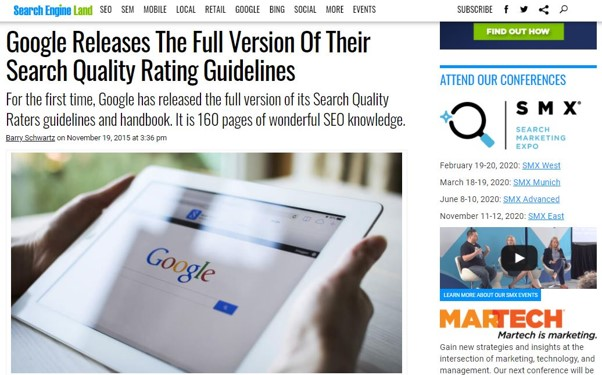 Google publie la version complete du Search Quality Raters Guidelines en 2015