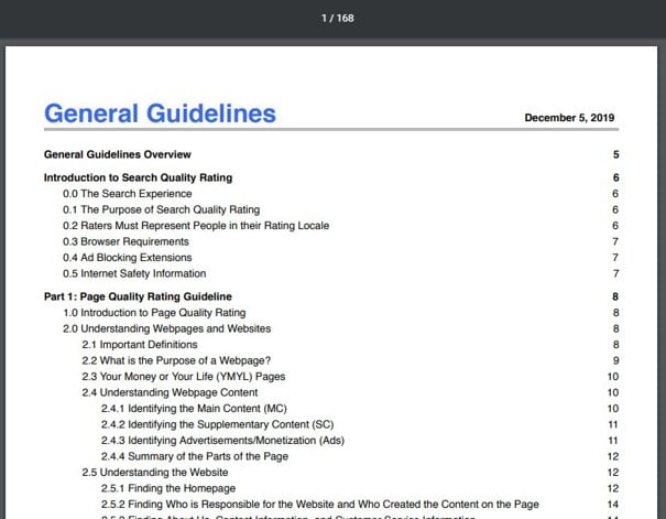 Les 168 pages du Search Quality Raters Guidelines de 2019