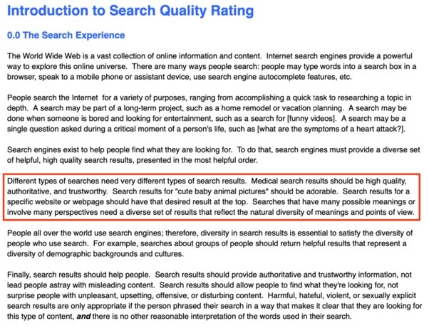 Paragraphe explicative de la section 0 dans le Search Quality Evaluator Guidelines de 2019