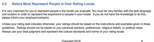 Les Quality Raters doivent etre objectif dans leur evaluation