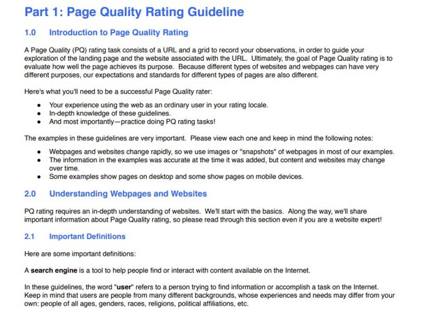 Partie 1 du Search Quality Evaluator Guidelines de 9