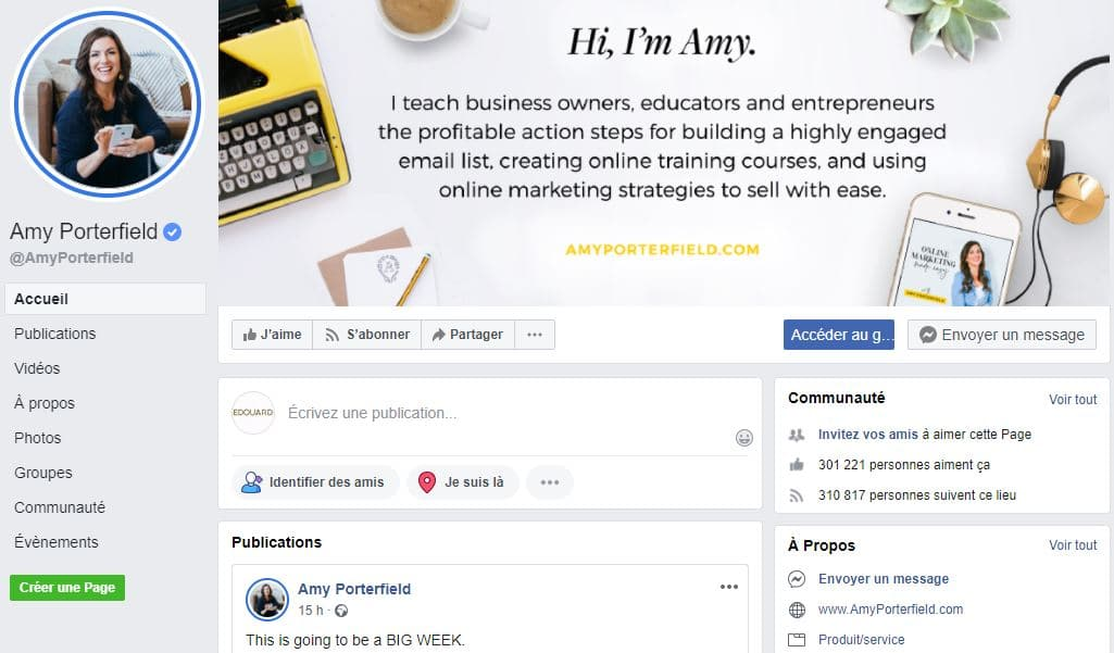 Page Facebook de Amy Porterfield