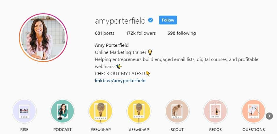 Page Instagram de Amy Porterfield