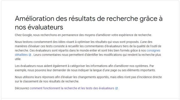 Google ameliore ses resultats avec ses evaluateurs