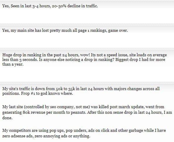 Baisse de trafic apres une mise a jour de Google
