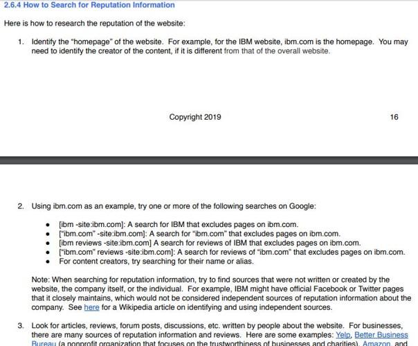 Conseil de Google pour evaluer la reputaion d un site web