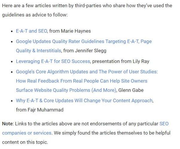 Ressources recommandees par Google sur l E A T