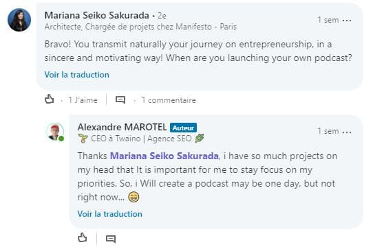 Appreciation de mon intervention sur le podcast de Captainmarketing