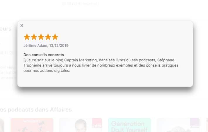 Avis sur iTune du podcast de Stephane Trupheme