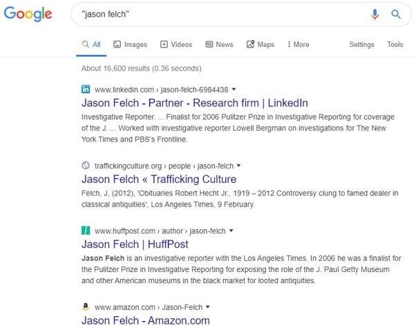 Recherche Google sur les auteurs