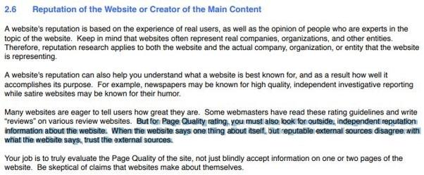 Google conseille de considerer les sources externes pour evaluer un site web