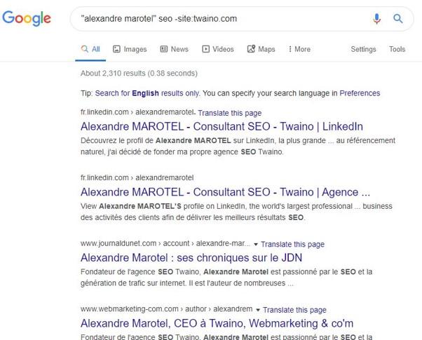 Recherche Google sur les auteurs de contenus