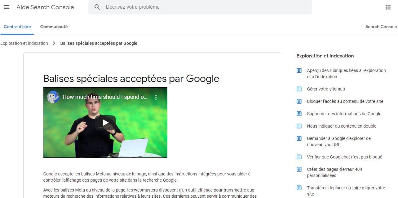 Guide de Google sur les balises