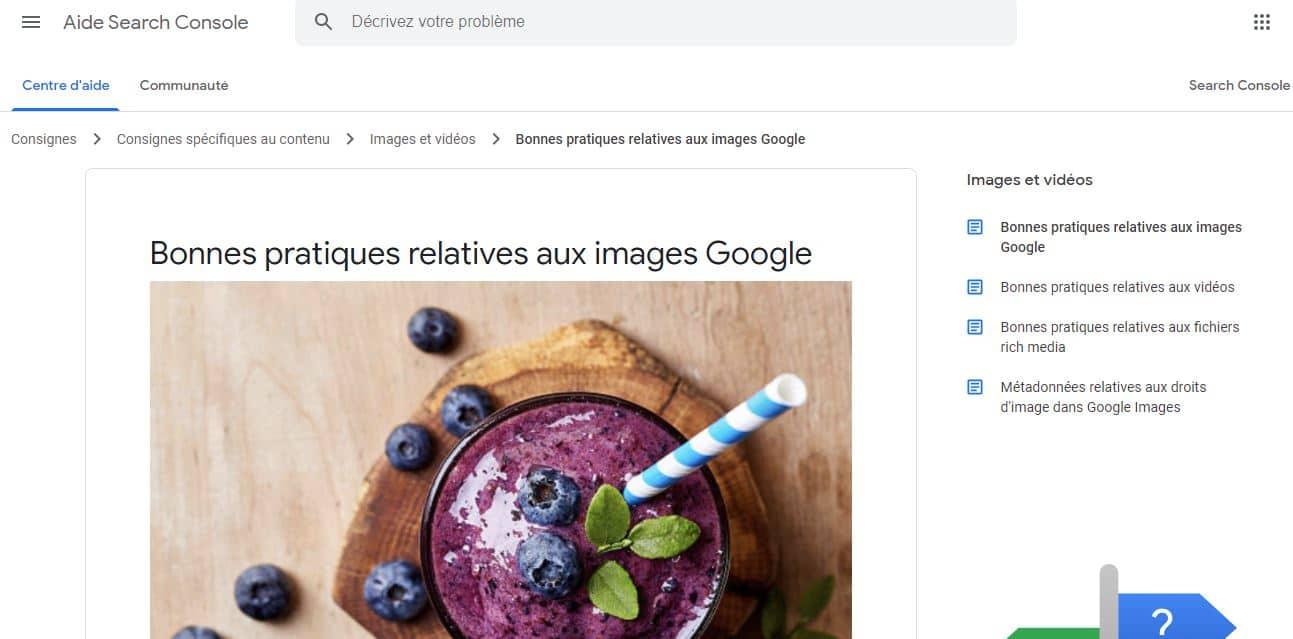 Guide de Google sur les images