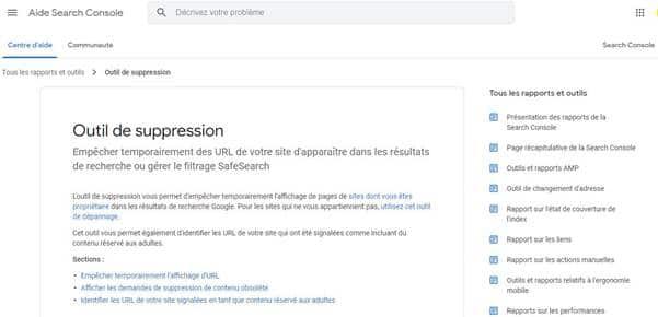 Outil de suppression d URL de Google