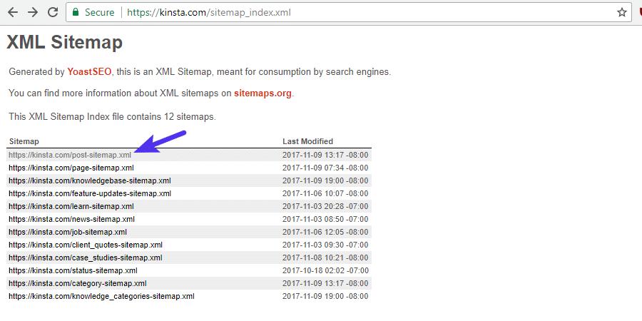 Fichier sitemap XLM