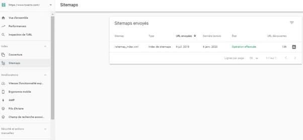 Soumettre un sitemap dans Google Seach Console