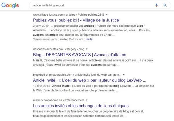 SERP article invite blog avocat