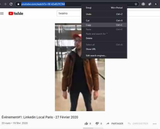 Copier l URL de la video