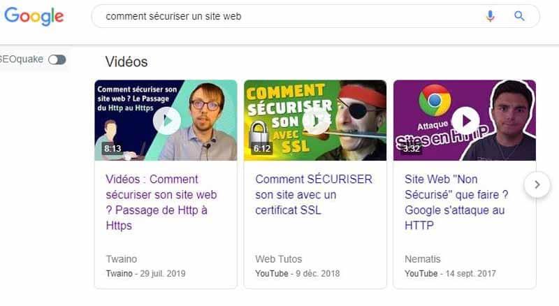 SERP Google avec video