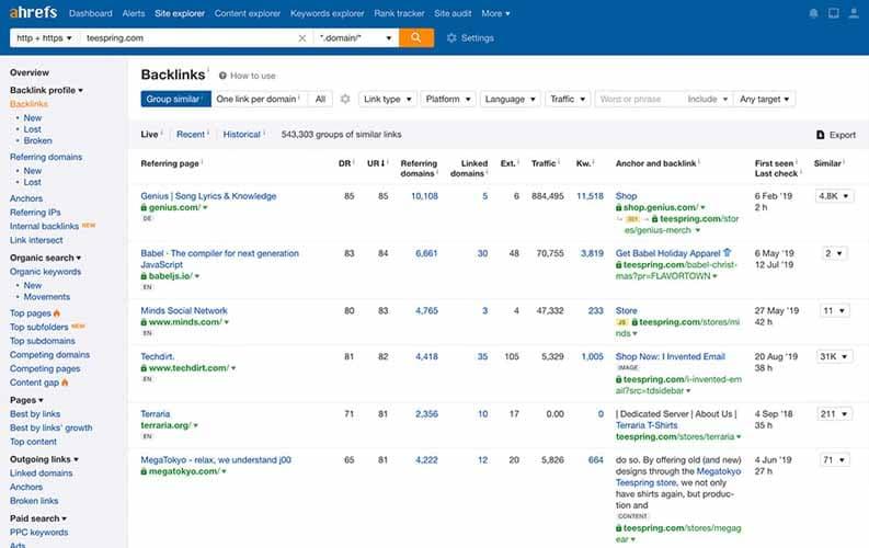 Ahrefs informations precises sur les liens disponibles sur le web
