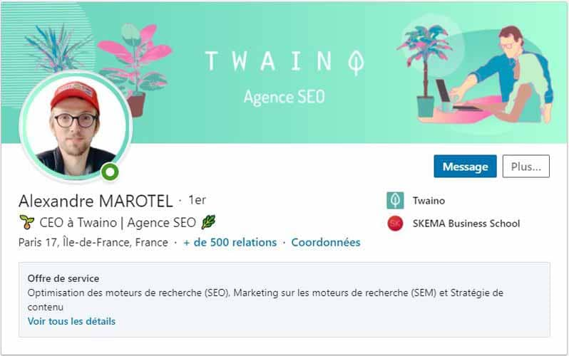 Profil LinkedIn Alexandre Marotel