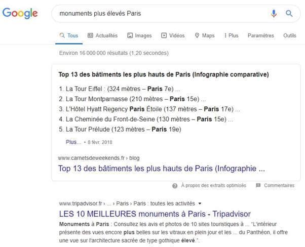 SERP pour les monuments eleves de paris