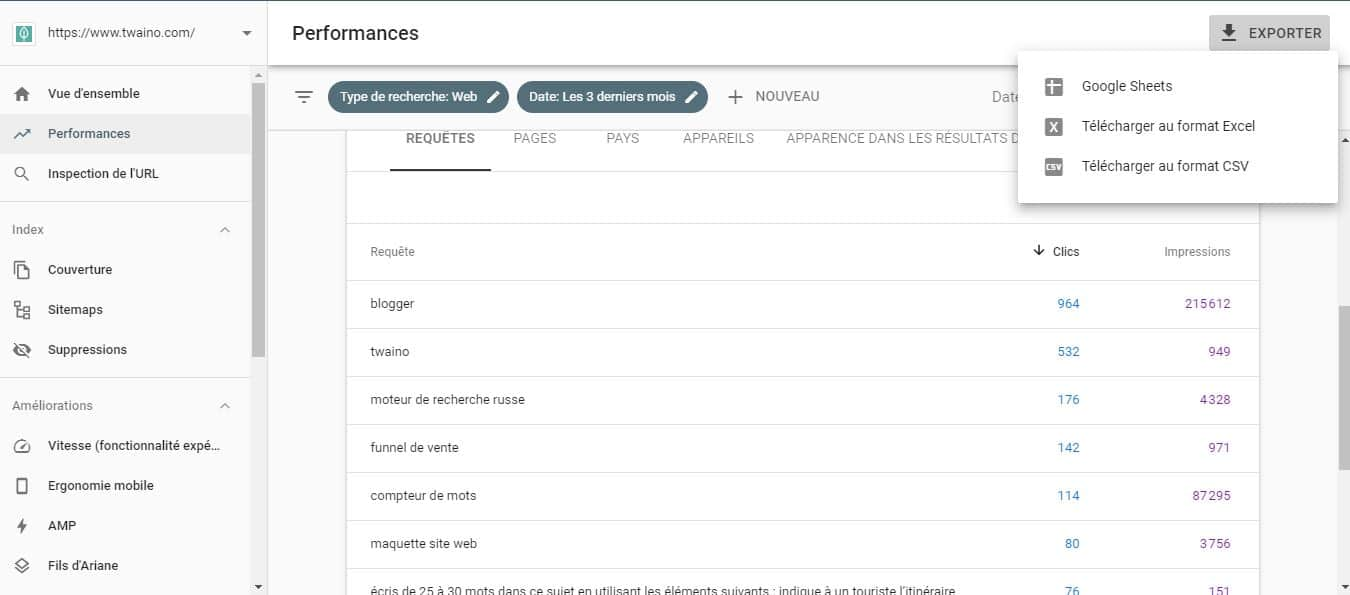 Exporter les requetes de la Search Console