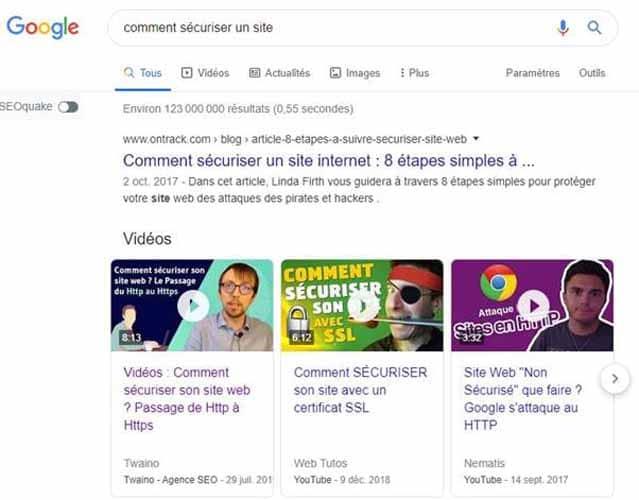 Les videos attirent plus l attention dans les SERPs