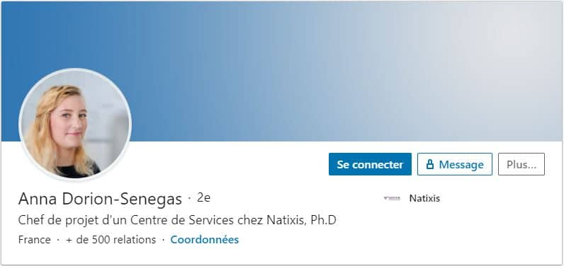 Profil LinkedIn Anna Dorion Senegas