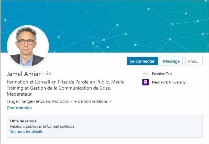 Profil LinkedIn Jamal Amiar