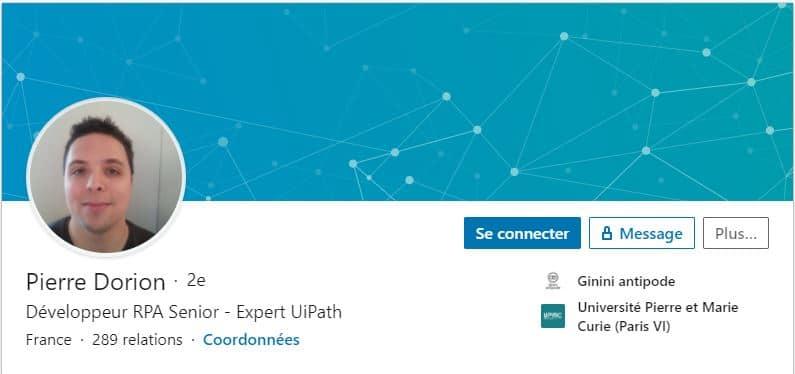 Profil LinkedIn Pierre Dorion