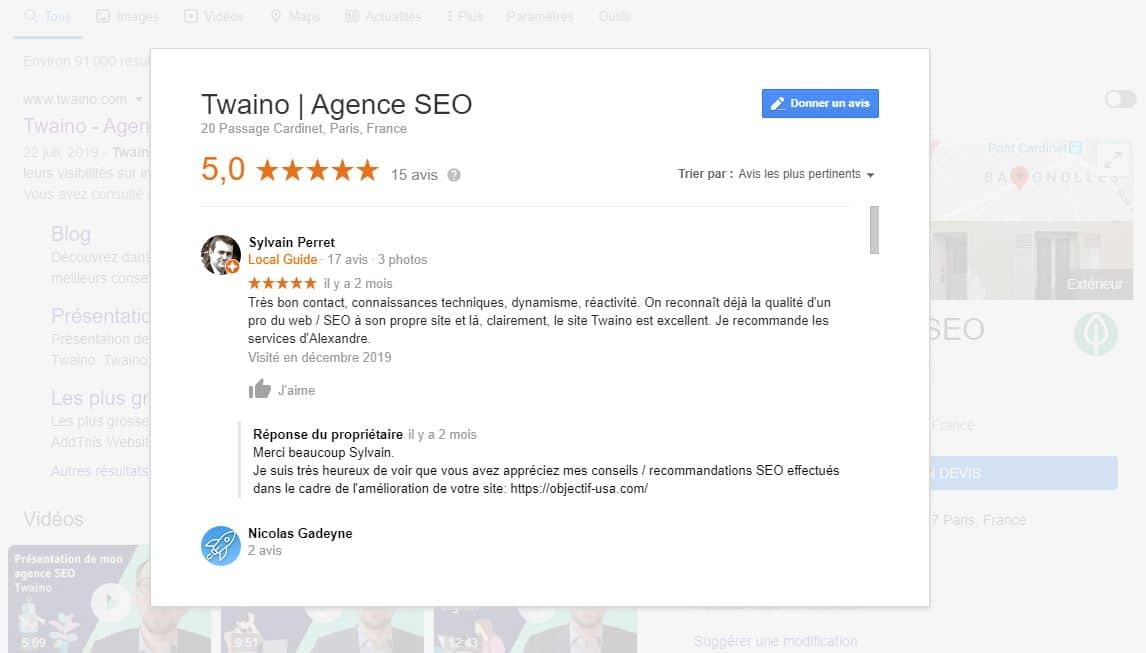 Avis sur Google My Business