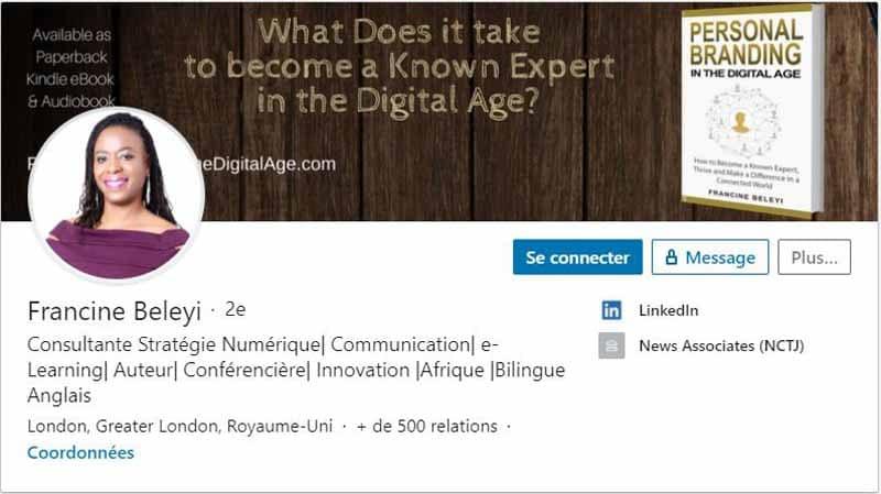 Profil LinkedIn Francine Beleyi