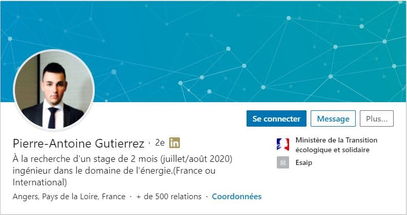 Profil LinkedIn Pierre Antoine Gutierrez