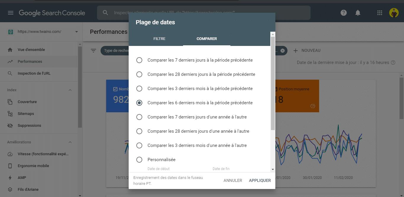 Comparer les performance d une page dans la Search Console 1