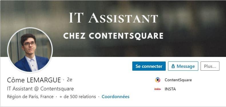 Profil LinkedIn Come LEMARGUE