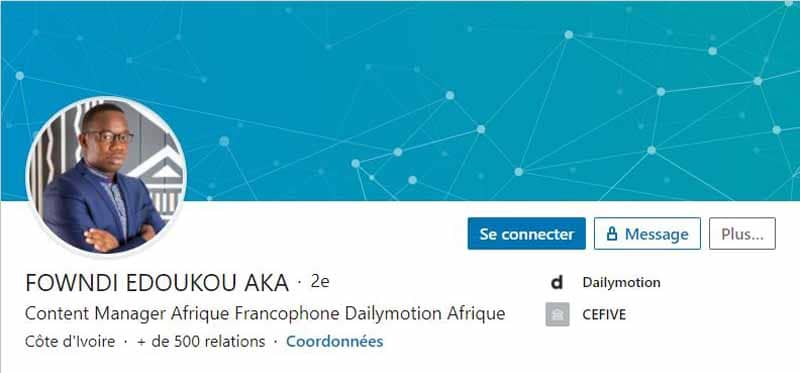 Profil LinkedIn Edoukou Fowndi